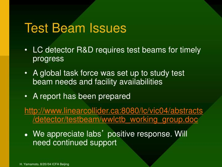 Test Beam Issues