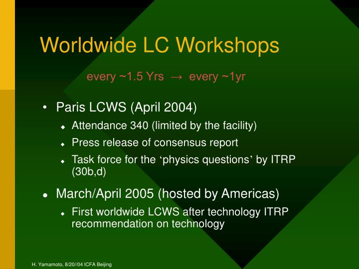 Worldwide LC Workshops