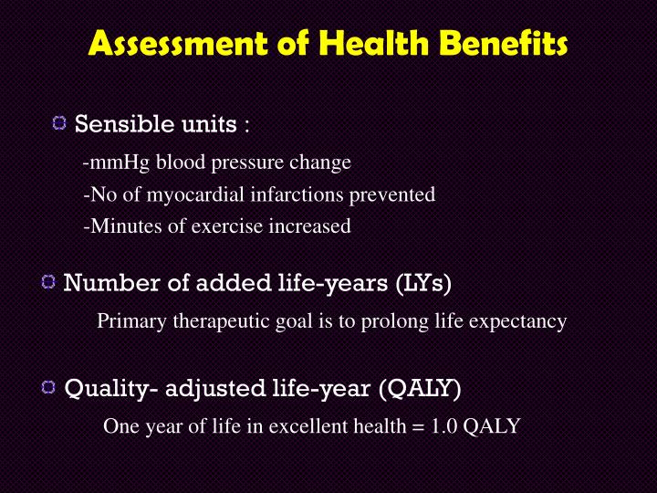 Assessment of Health Benefits