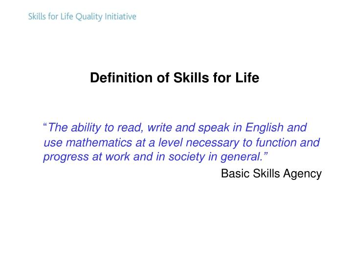 Definition of Skills for Life
