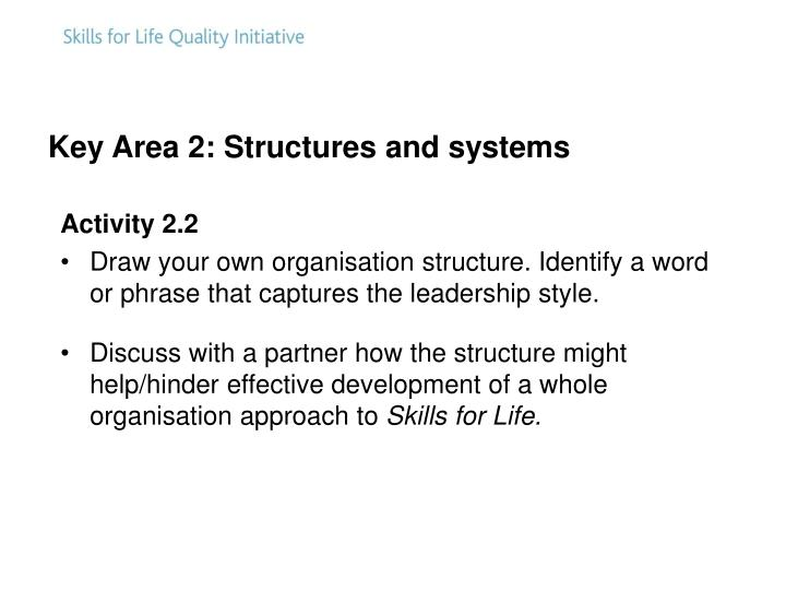 Key Area 2: Structures and systems