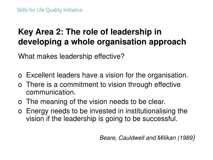 Key Area 2: The role of leadership in developing a whole organisation approach