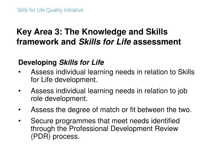 Key Area 3: The Knowledge and Skills framework and