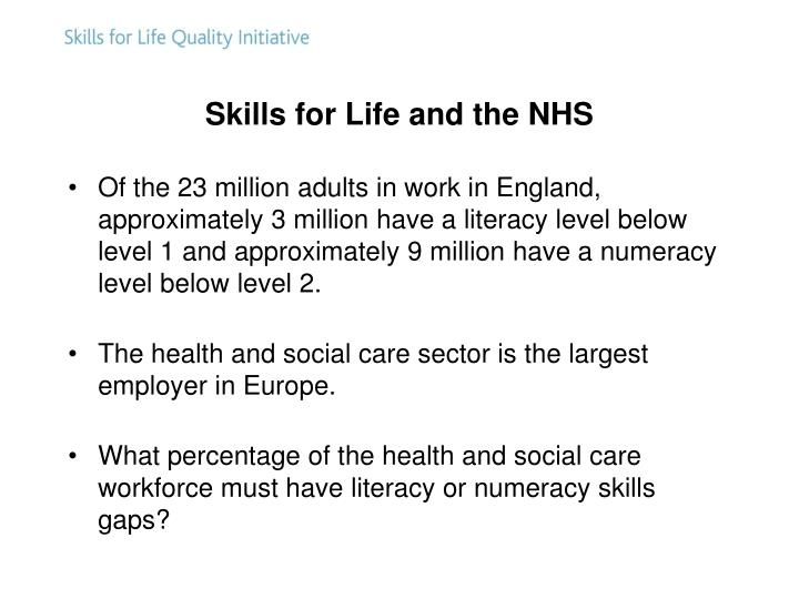 Skills for Life and the NHS