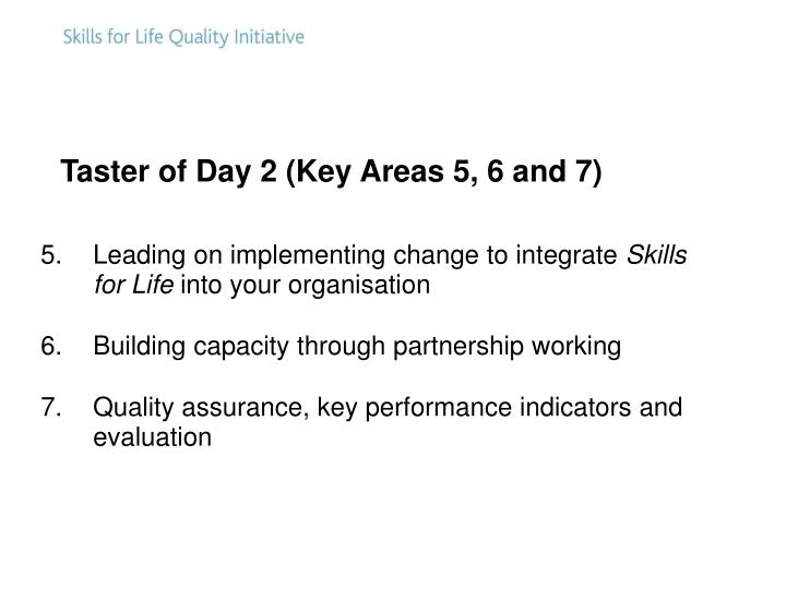 Taster of Day 2 (Key Areas 5, 6 and 7)