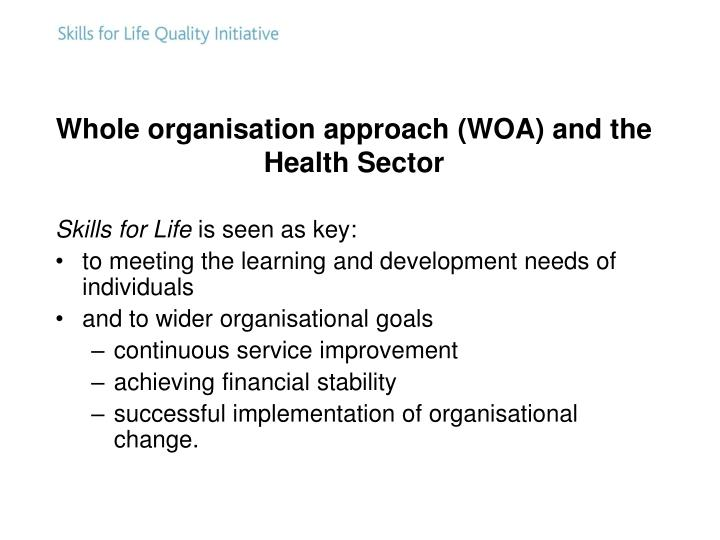 Whole organisation approach (WOA) and the Health Sector