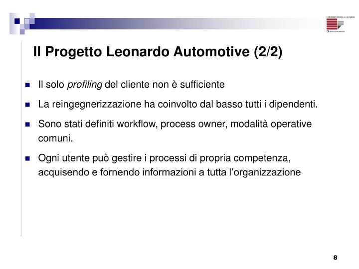 Il Progetto Leonardo Automotive (2/2)