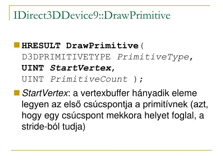 IDirect3DDevice9::DrawPrimitive
