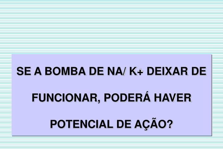 SE A BOMBA DE NA/ K+ DEIXAR DE FUNCIONAR, PODER HAVER POTENCIAL DE AO?