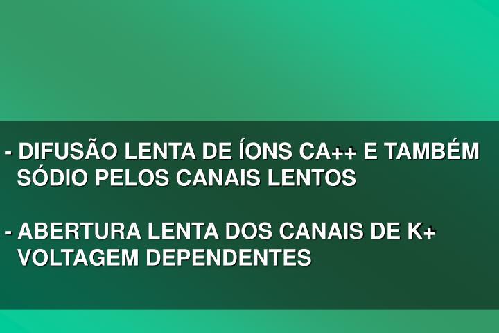 - DIFUSO LENTA DE ONS CA++ E TAMBM