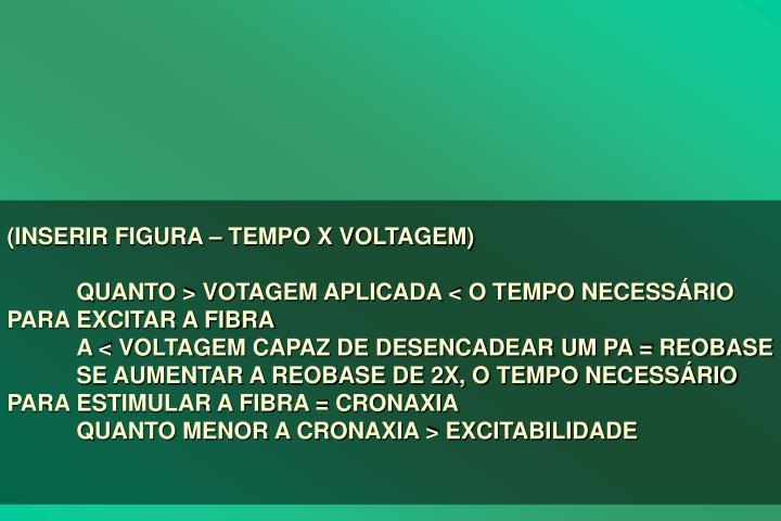 (INSERIR FIGURA  TEMPO X VOLTAGEM)