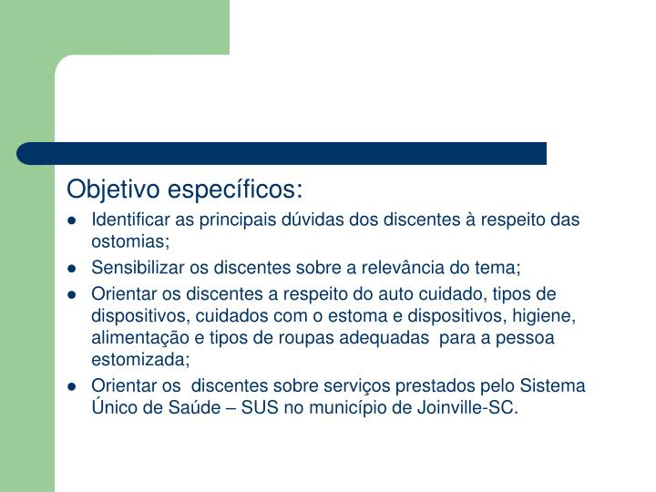 Objetivo específicos: