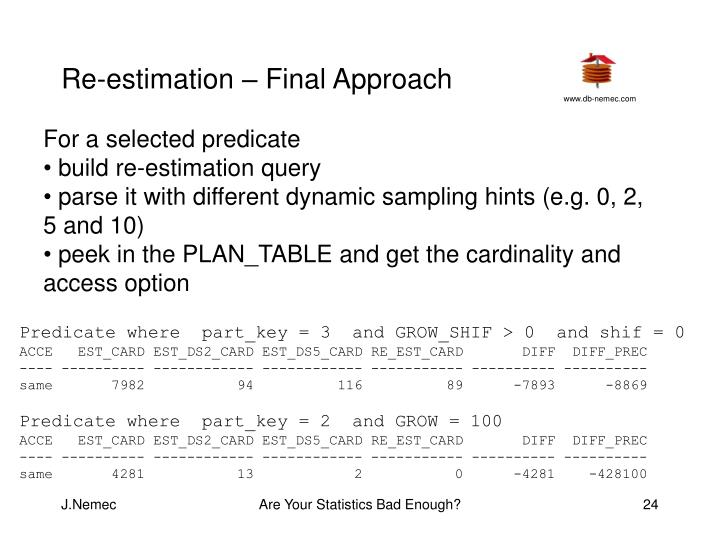 Re-estimation – Final Approach