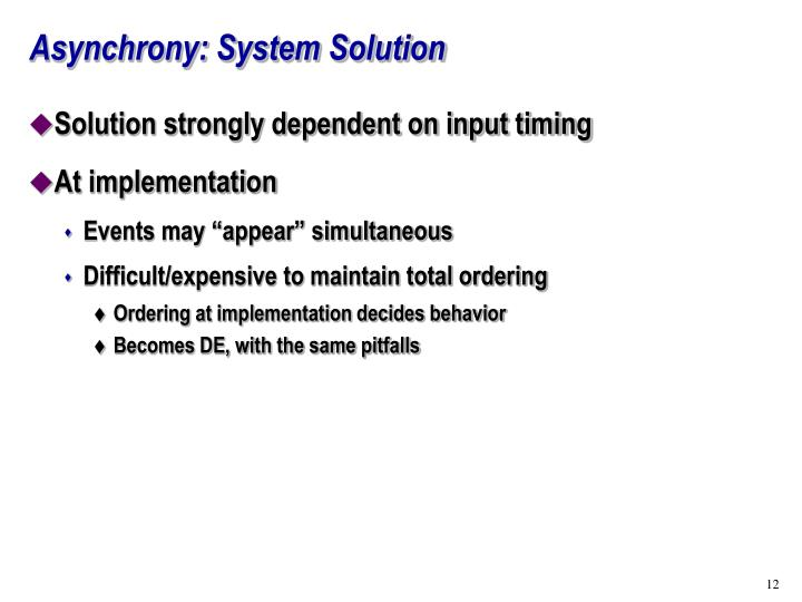 Asynchrony: System Solution
