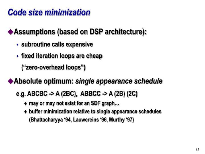 Code size minimization
