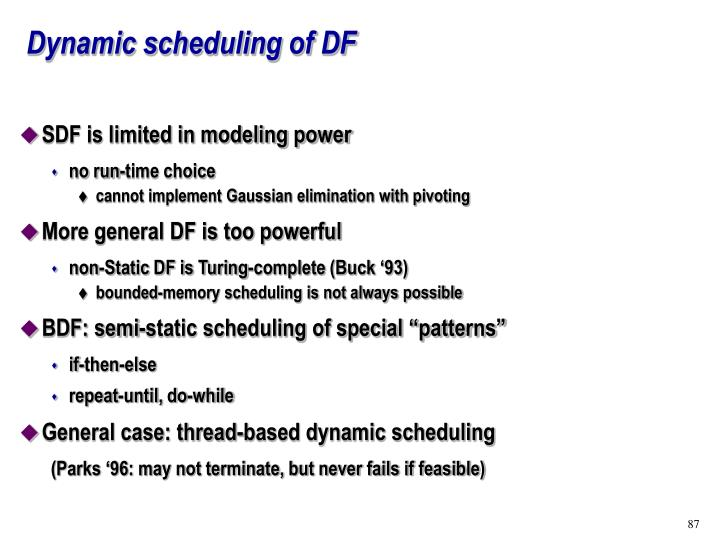 Dynamic scheduling of DF