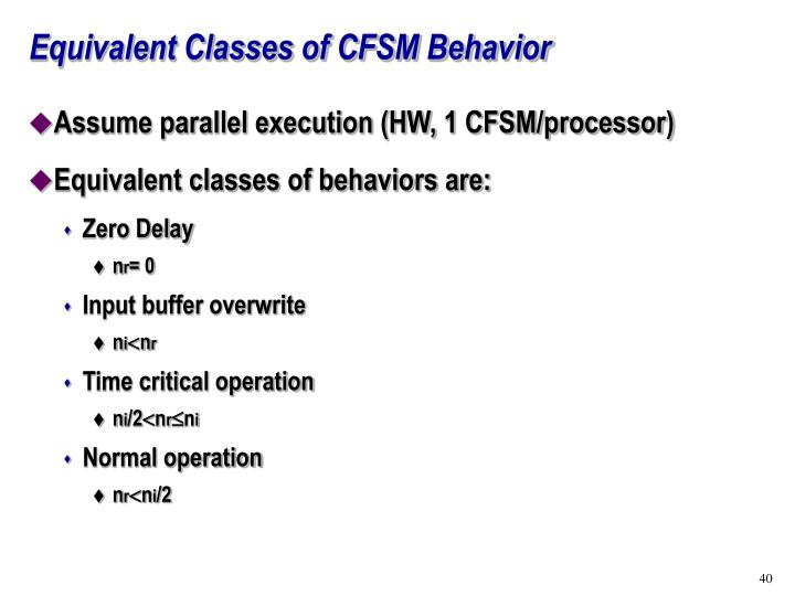 Equivalent Classes of CFSM Behavior