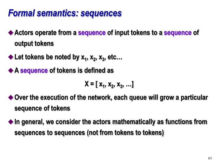 Formal semantics: sequences