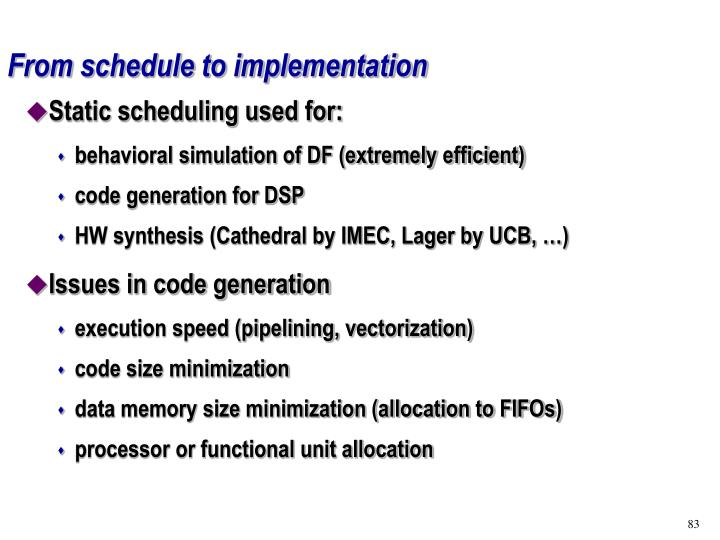 From schedule to implementation