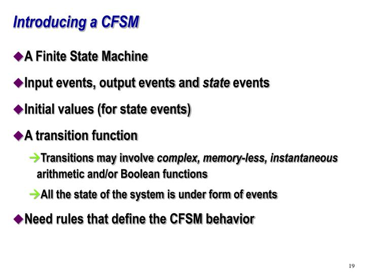 Introducing a CFSM