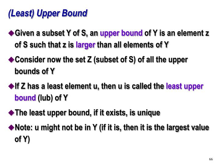 (Least) Upper Bound