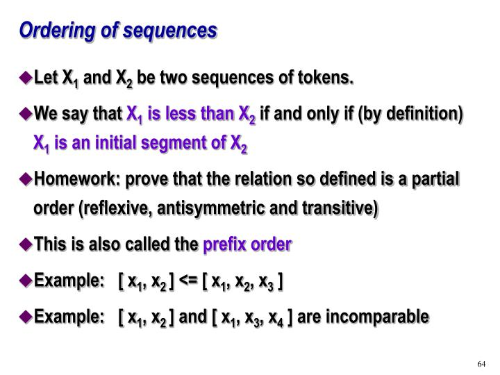 Ordering of sequences