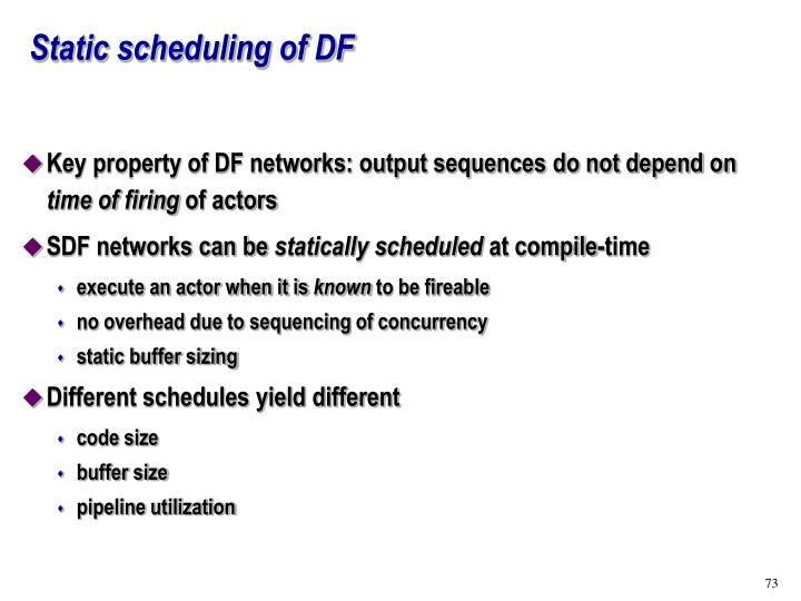 Static scheduling of DF