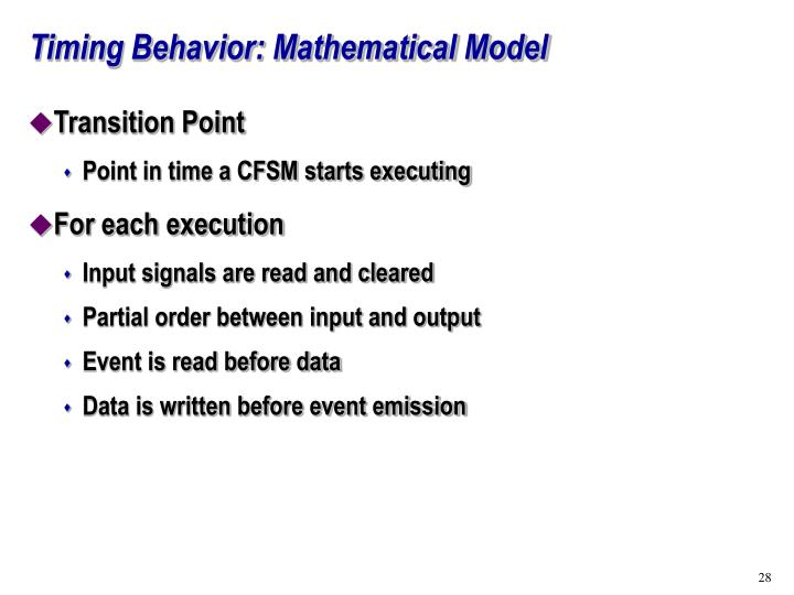 Timing Behavior: Mathematical Model