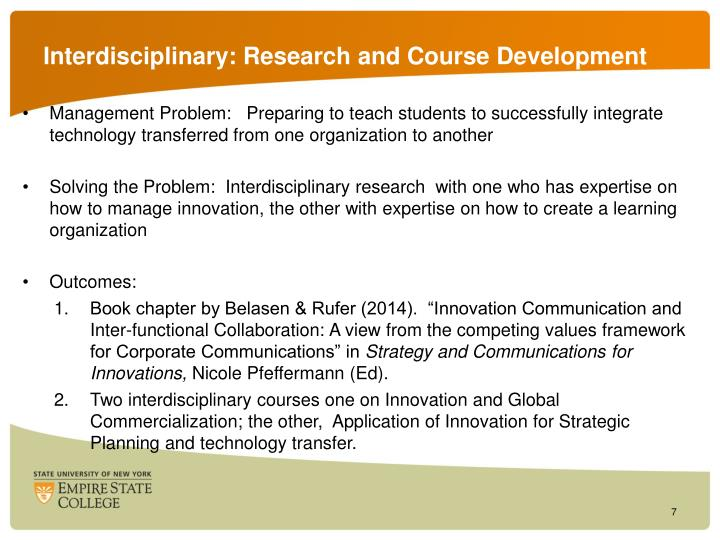 Interdisciplinary: Research and Course Development