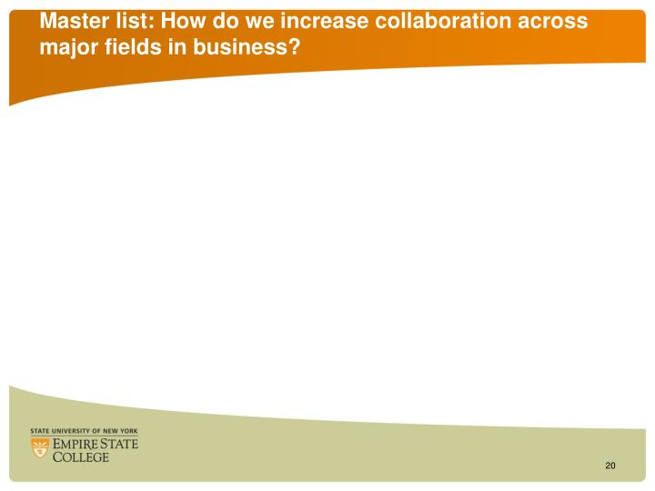 Master list: How do we increase collaboration across major fields in business?