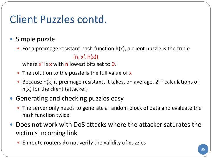 Client Puzzles contd.