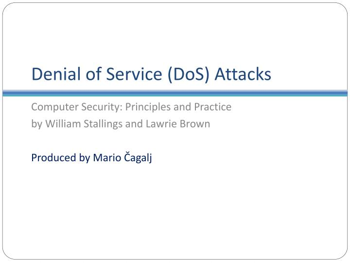 Denial of service dos attacks