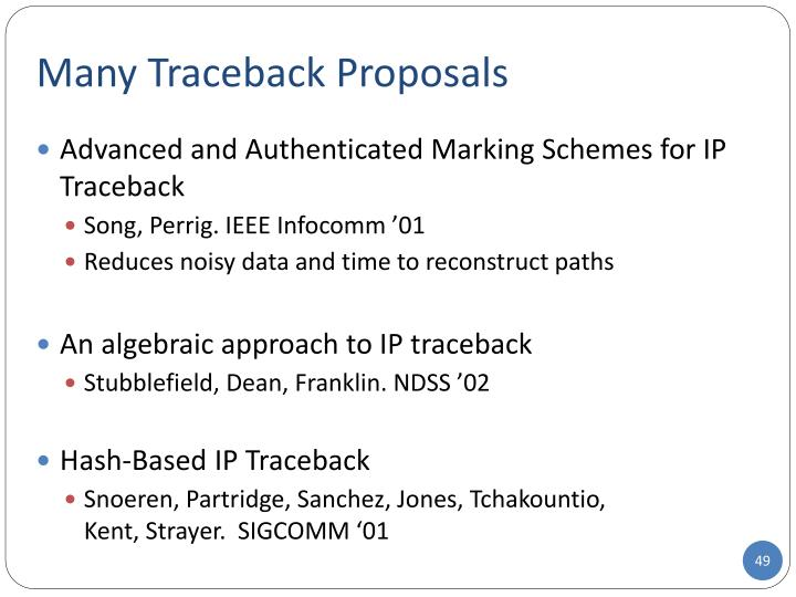 Many Traceback Proposals