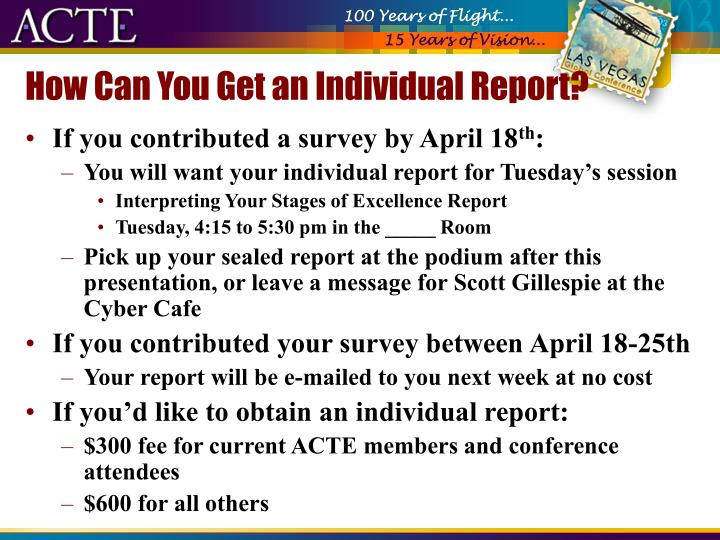 How Can You Get an Individual Report?