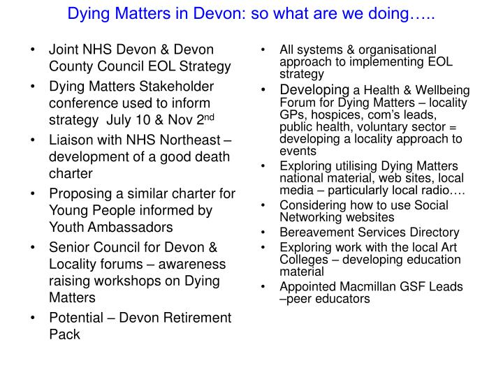 Dying Matters in Devon: so what are we doing…..