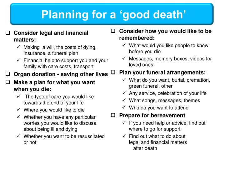 Planning for a 'good death