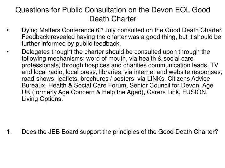 Questions for Public Consultation on the Devon EOL Good Death Charter