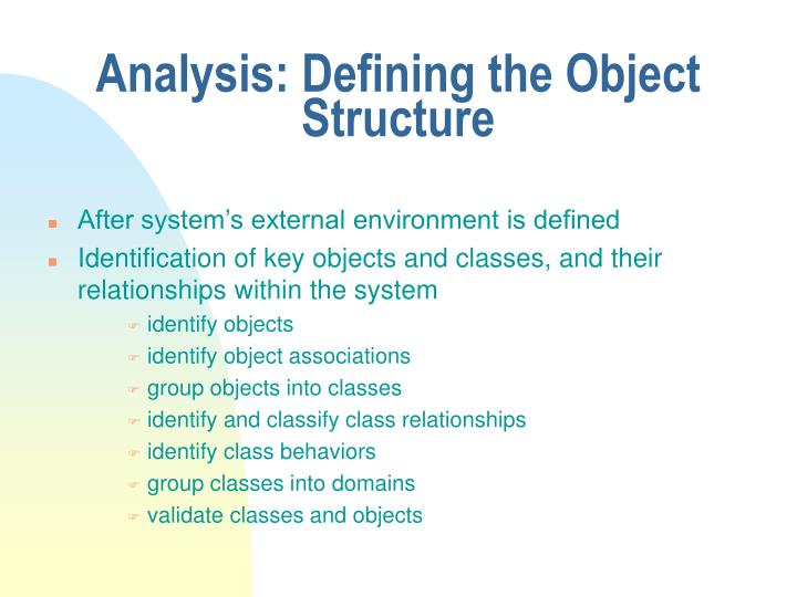 Analysis: Defining the Object Structure