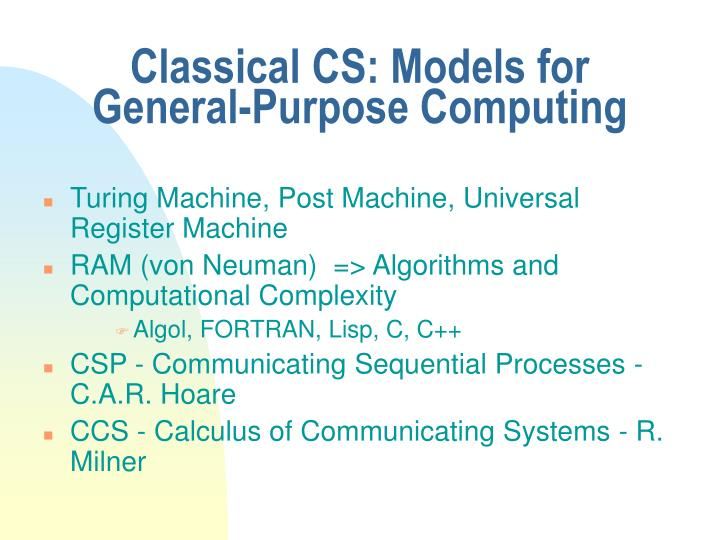 Classical CS: Models for