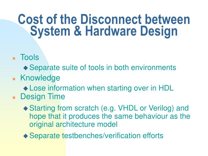 Cost of the Disconnect between System & Hardware Design