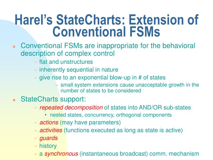 Harel's StateCharts: Extension of Conventional FSMs