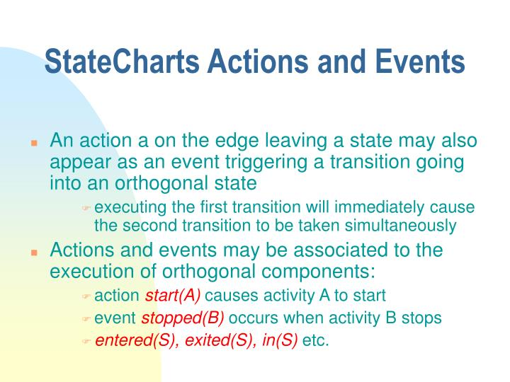 StateCharts Actions and Events