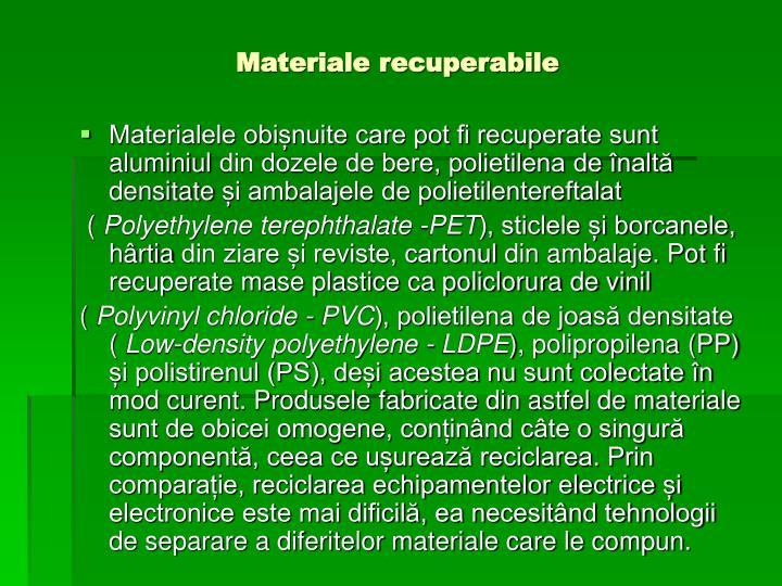 Materiale recuperabile