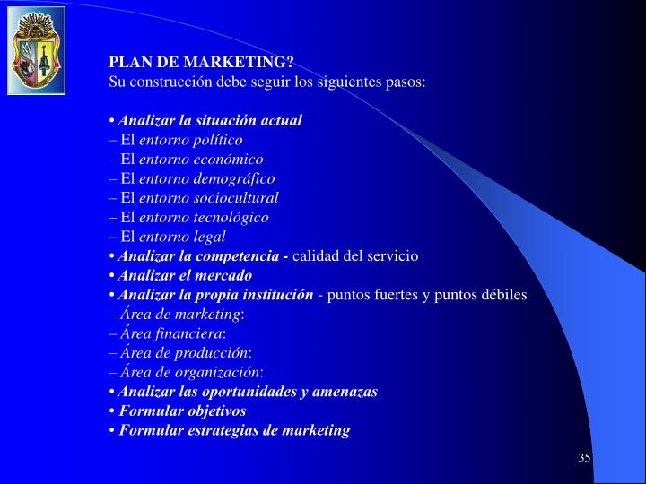 PLAN DE MARKETING?
