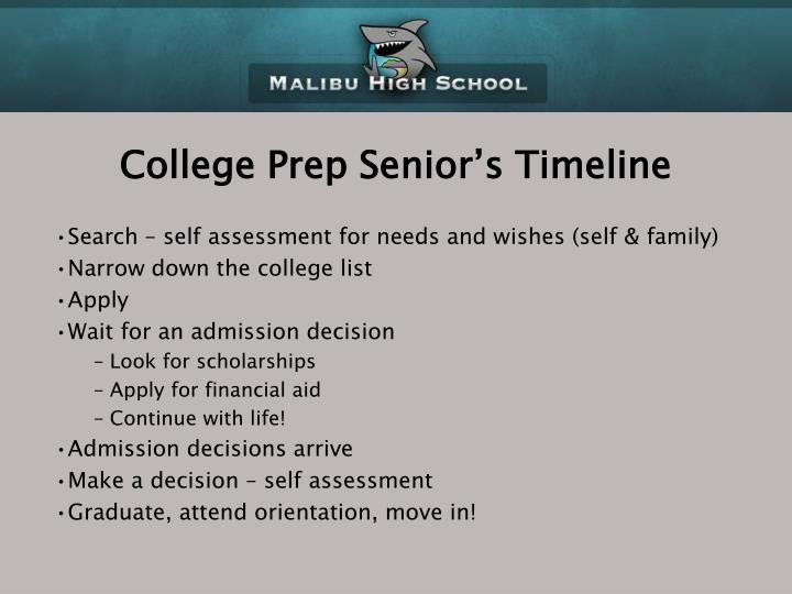 College Prep Senior's Timeline