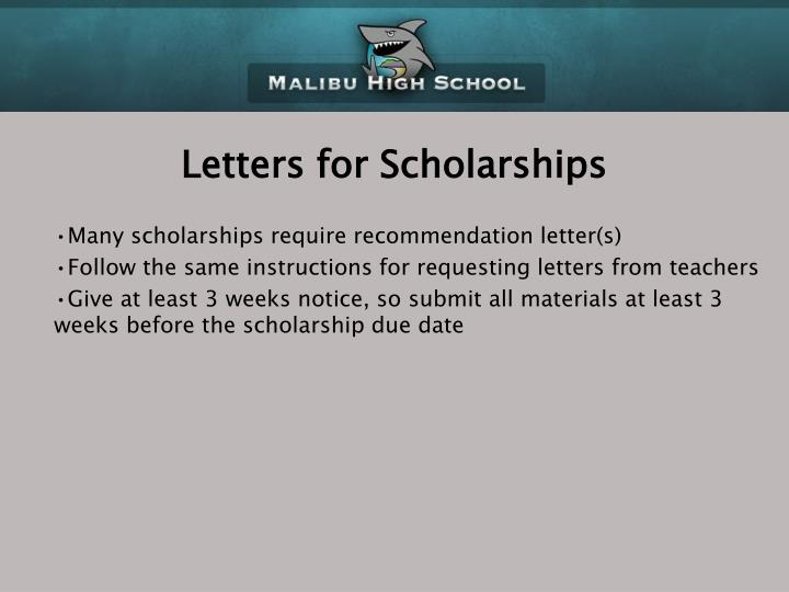 Letters for Scholarships