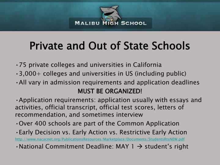 Private and Out of State Schools