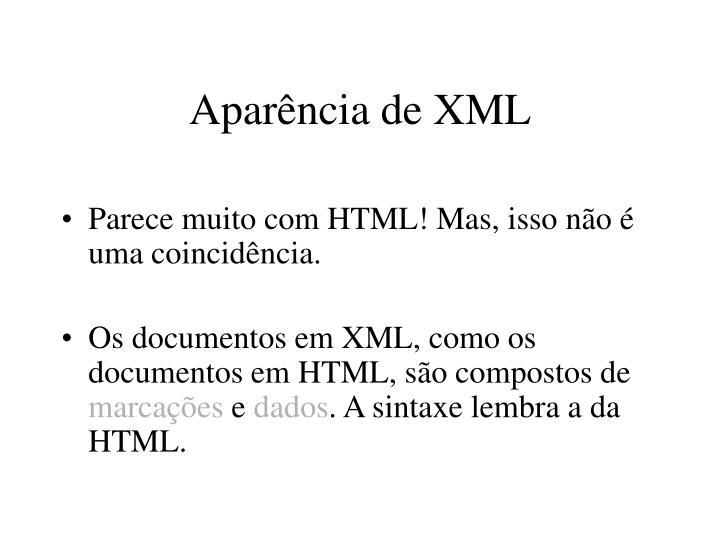 Aparência de XML