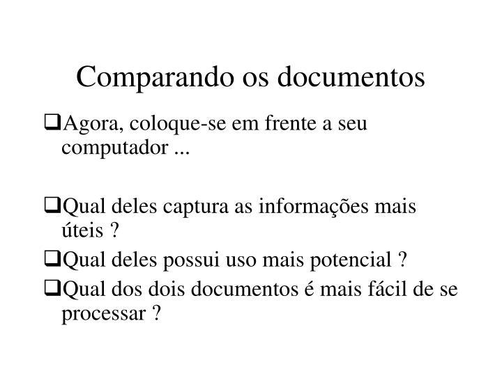 Comparando os documentos