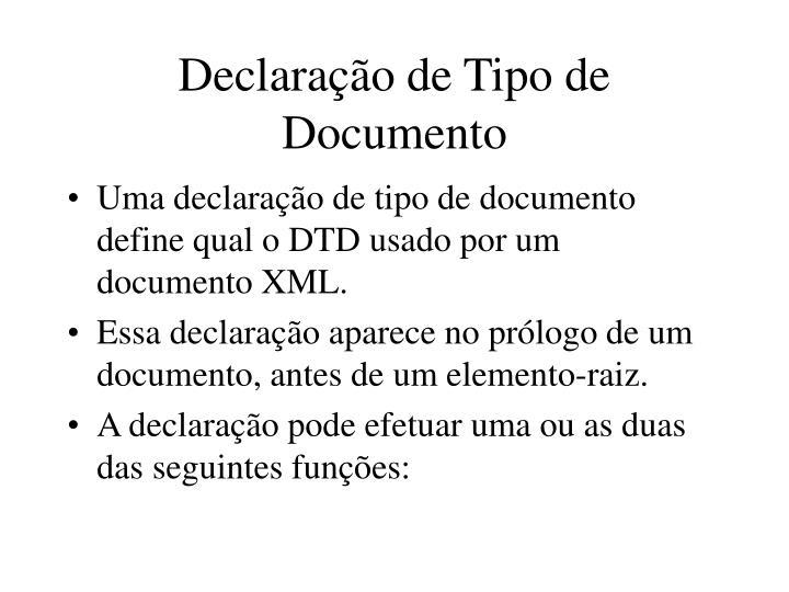 Declaração de Tipo de Documento